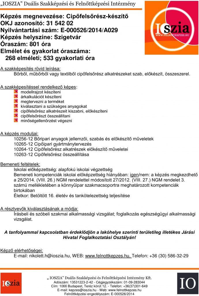 Cipőfelsőrész-készítő OKJ - Szigetvár - felnottkepzes.hu - Felnőttképzés - IOSZIA