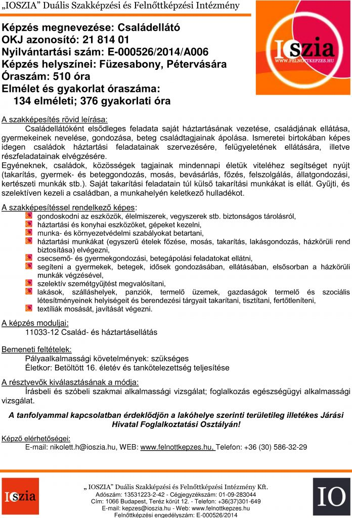 Családellátó OKJ - Füzesabony - Pétervására - felnottkepzes.hu - Felnőttképzés - IOSZIA