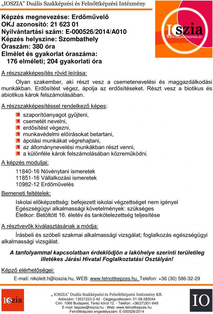 Erdőművelő OKJ - Szombathely - Felnőttképzés -felnottkepzes.hu - IOSZIA