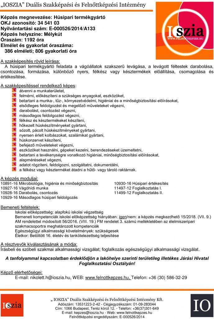 Húsipari termékgyártó OKJ - Mélykút - felnottkepzes.hu - Felnőttképzés - IOSZIA