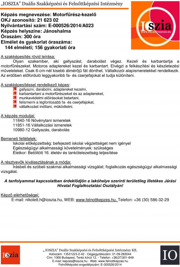 Motorfűrész-kezelő OKJ - Jánoshalma - felnottkepzes.hu - Felnőttképzés - IOSZIA