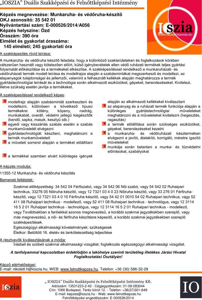 Munkaruha- és védőruha készítő OKJ - Ózd - felnottkepzes.hu - Felnőttképzés - IOSZIA