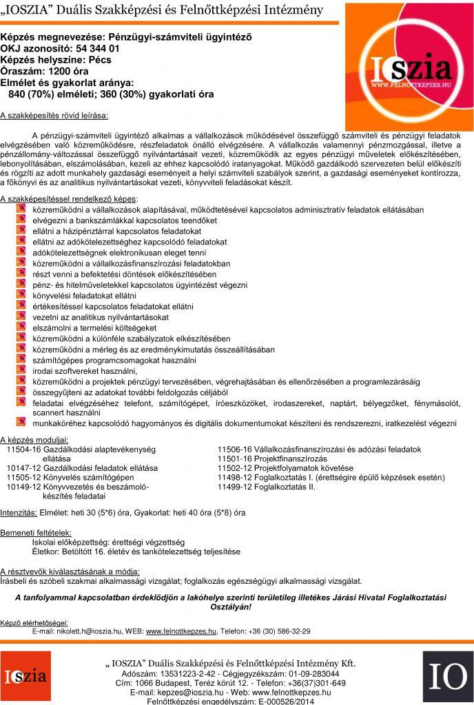 Pénzügyi-számviteli ügyintéző - Pécs - IOSZIA felnottkepzes.hu