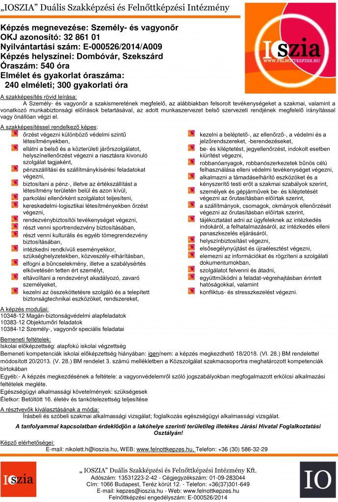 Személy- és vagyonőr OKJ - Dombóvár - Szekszárd - felnottkepzes.hu - Felnőttképzés - IOSZIA