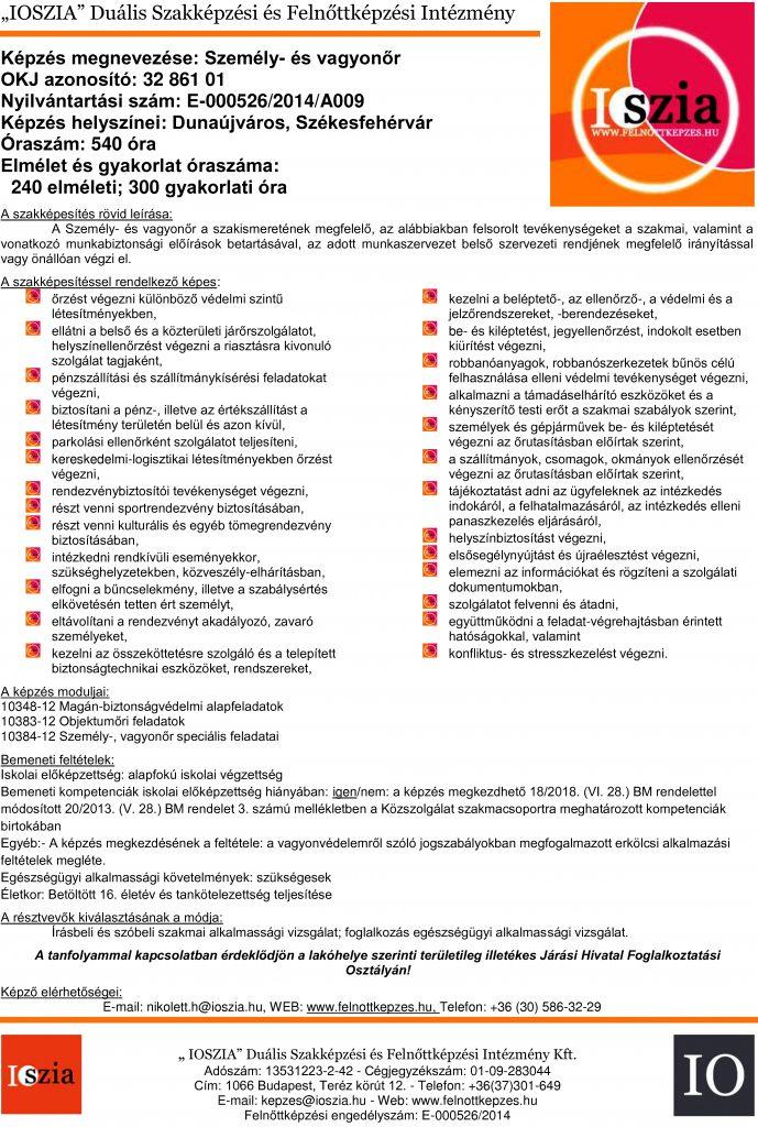 Személy- és vagyonőr OKJ - Dunaújváros - Székesfehérvár - felnottkepzes.hu - Felnőttképzés - IOSZIA
