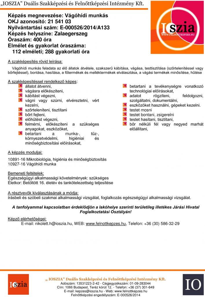 Vágóhídi munkás OKJ - Zalaegerszeg - felnottkepzes.hu - Felnőttképzés - IOSZIA